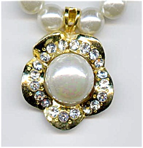 Faux pearl rhinestone necklace (Image1)