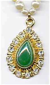 Faux jade pearl rhinestone necklace (Image1)