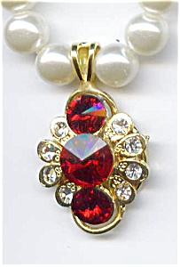 Faux  Pearl Ruby Rhinestone Necklace (Image1)