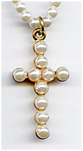 Faux pearl cross design beaded necklace (Image1)