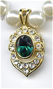 Faux pearl rhinestone emerald necklace (Image1)