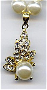 Faux pearl rhinestone leaf design necklace (Image1)