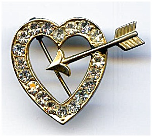 Heart and Arrow rhinestone gold plated brooch or pin (Image1)