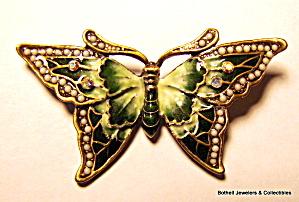 Butterfly vintage enamel rhinestone brooch or pin (Image1)