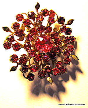 Red rhinestone floral vintage brooch or pin (Image1)