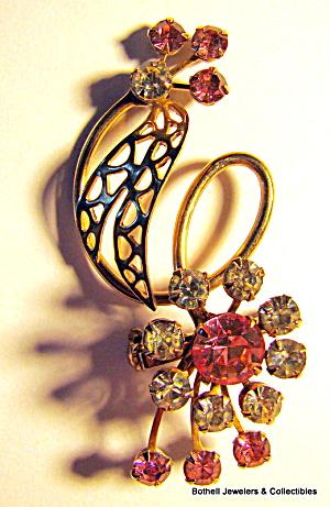 Flower design vintage silver tone rhinestone brooch (Image1)