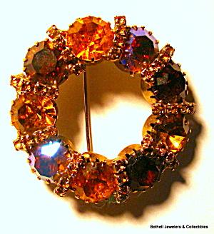 Circle design vintage gold tone rhinestone brooch (Image1)
