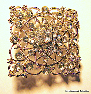 Square Filigree Design Vintage Rhinestone Brooch Or Pin