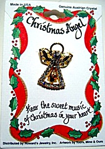 Christmas angel with bell crystal pin (Image1)