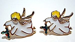 Christmas angel enameled post earrings (Image1)
