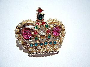 Crown vintage rhinestone brooch (Image1)