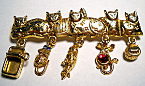Cats with charms vintage gold tone brooch (Image1)