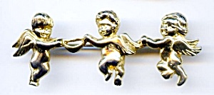 Dancing cherubs gold plated brooch or pin (Image1)