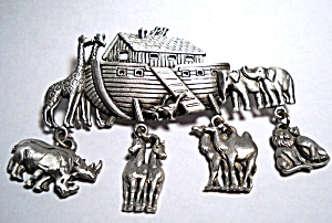 Noah's Ark vintage pewter brooch or pin (Image1)