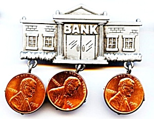 Bank with pennies pewter brooch or pin (Image1)