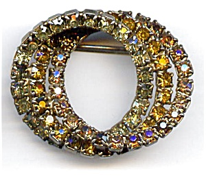Gold plated triple circle rhinestone brooch or pin (Image1)