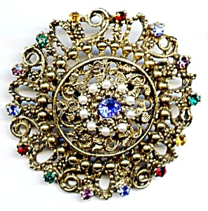 Gold plated round filigree rhinestone brooch or pin (Image1)