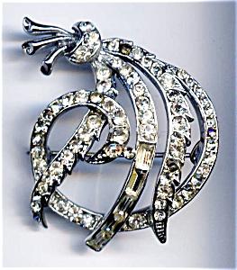 Ribbon design rhinestone brooch or pin (Image1)