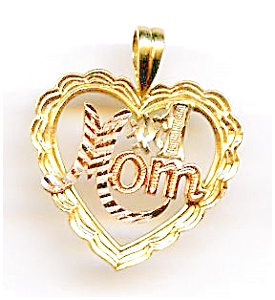 #1 Mom Tricolor 14k Gold Heart Pendant