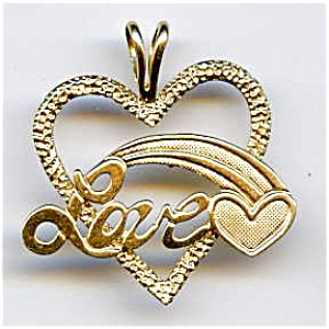 14K gold 'Love' open shooting heart pendant or charm (Image1)
