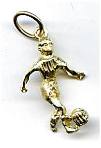 Soccer player 14k gold pendant charm (Image1)