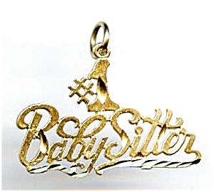 #1 Babysitter 14k gold pendant or charm (Image1)