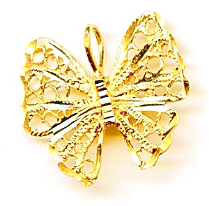 Butterfly 14k gold filigree pendant (Image1)