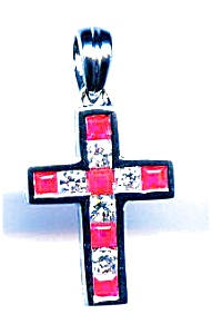 Ruby and Diamond 14K White Gold Cross (Image1)