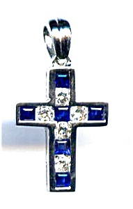 Sapphire And Diamond 14k White Gold Cross