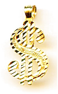 Dollar Sign 14k Gold Diamond Cut Pendant