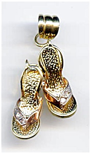 14k Rose And Yellow Gold High Heel Shoes Pendant