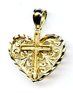 10k yellow gold heart cross pendant (Image1)