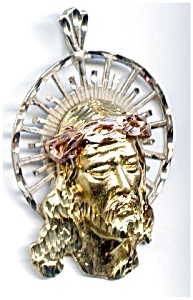 Jesus Face Three Color Gold Large Pendant