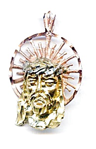 Jesus Christ white, rose, yellow gold pendant (Image1)