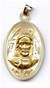 Jesus Christ Blessing 14k Gold Pendant