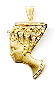 Nefertiti Egyptian 14K yellow gold diamond cut pendant (Image1)