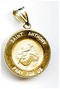 Saint Anthony pray for us 14k gold pendant (Image1)