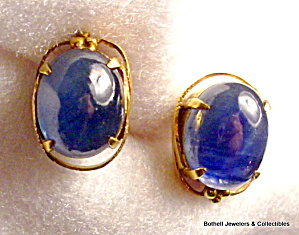 Natural Star Sapphire 22k Gold Earrings