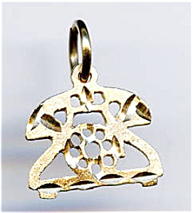 Telephone 14k Gold Pendant Or Charm