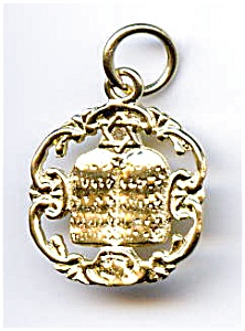 14K gold Ten Commandments Jewish pendant (Image1)