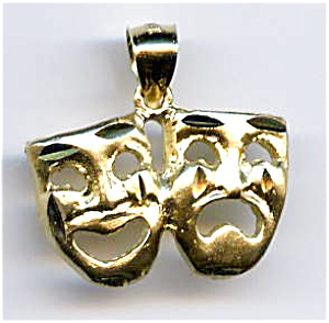 Tragedy Comedy Masks 14k gold pendant (Image1)