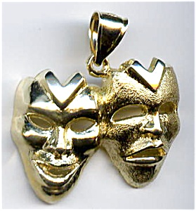 14k Gold Comedy Tragedy Theatrical Masks Pendant