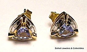Tanzanite 14k Yellow Gold Post Earrings