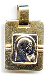 Virgin Mary Madonna 14k white and yellow gold pendant (Image1)