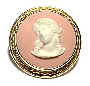 Vintage Wedgewood pink jasper brooch pendant (Image1)
