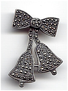 Bow And Bell Sterling Silver Marcasite Brooch Or Pin