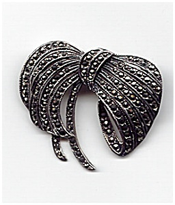 Sterling Silver Marcasite Ribbon Bow Brooch