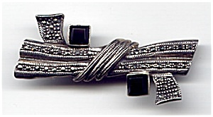 Sterling Silver Marcasite Black Onyx Brooch