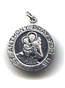 Saint Anthony Sterling Silver Round Pendant