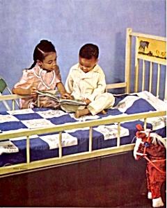 1950s Calendar print African American girl & boy crib (Image1)